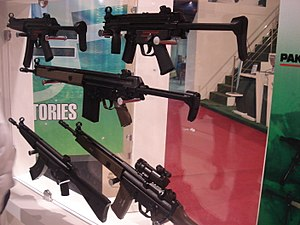 Pakistan Ordnance Factories - Several HK MP5 and HK G3 variants produced by POF on display at an exhibition