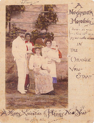 J. R. R. Tolkien - 1892 Christmas card with a coloured photo of the Tolkien family in Bloemfontein, sent to relatives in Birmingham, England