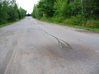 Gravity hill - Water appearing to run uphill at Magnetic Hill in New Brunswick