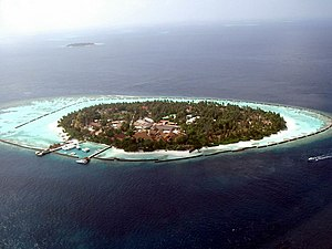 Fringing reef - Island with fringing reef in the Maldives