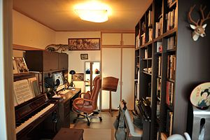 English: A Japanese man's home office, den, or...