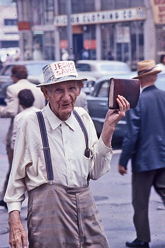 Open-air preaching - Street preacher in Los Angeles, California, 1972