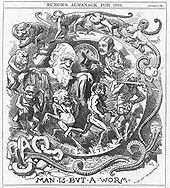 """Figuur Darwin wordt getoond gezeten, gekleed in een toga in een cirkelvormig frame met het label """"TIJD VAN METER"""" waaromheen een opeenvolging van cijfers spiraal beginnend met een regenworm die uit de gebroken letters """"CHAOS"""" dan wormen met kop en ledematen, gevolgd door apen , apen, primitieve mensen, een lendendoek bekleed jager met een club, en een man die tips zijn hoge hoed naar Darwin."""