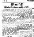 Manifest kõigile Eestimaa rahvastele avaldatuna 25.veebruari 1918 Teatajas.png