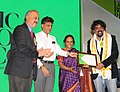 Manish Tewari presenting the Limca Book of Record 'People of the Year'2013 to Leading Cinematographer, Shri Santosh Sivan (ASC), at a function, in New Delhi on April 10, 2013.jpg