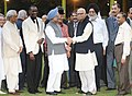 Manmohan Singh along the Leader of Opposition in Lok Sabha, Shri L.K. Advani, the Union Minister of Youth Affairs and Sports, Dr. M.S. Gill and other dignitaries at an Iftar party, hosted by him, in New Delhi.jpg