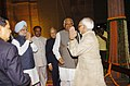 Manmohan Singh received by the Lok Sabha Speaker, Shri Somnath Chatterjee for the 60th anniversary of Independence Day Celebrations at the Central Hall of Parliament in New Delhi on August 15, 2007.jpg
