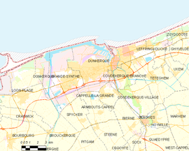 Mapa obce Dunkerque
