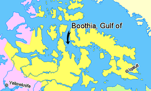 Gulf of Boothia - Image: Map indicating the Gulf of Boothia, Nunavut, Canada