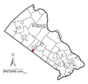 Map of Brittany Farms-Highlands, Bucks County, Pennsylvania Highlighted.png