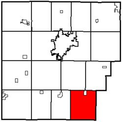 Location of Delaware Township in Hancock County.