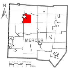 Location of Hempfield Township in Mercer County
