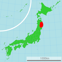 Map of Japan with Iwate highlighted