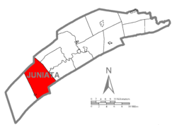 Map of Juniata County, Pennsylvania highlighting Tuscarora Township