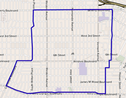Map of Koreatown as delineated by the Los Angeles Times