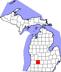 Map of Michigan highlighting Barry County