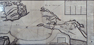 Mogador island - Map of Mogador island (upper left) in Essaouira bay, by Théodore Cornut, 1767.