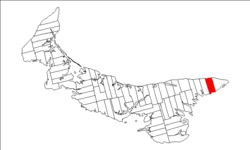 Map of Prince Edward Island highlighting Lot 46