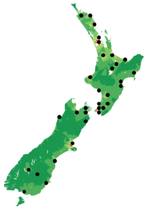 Radio Live - This is a map of the MediaWorks-owned frequencies for Radio Live.
