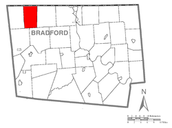Map of Bradford County with South Creek Township highlighted
