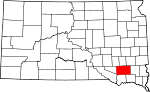 State map highlighting Hutchinson County