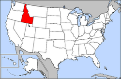 Map of the United States with Idaho highlighted