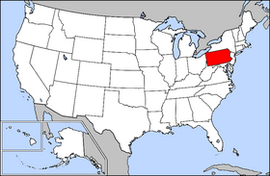 Map of the United States with Pennsylvania highlighted
