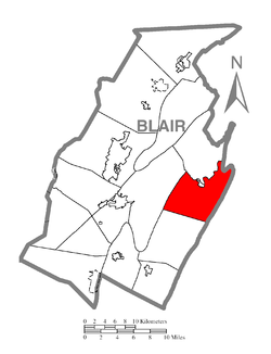 Map of Blair County, Pennsylvania highlighting Woobury Township