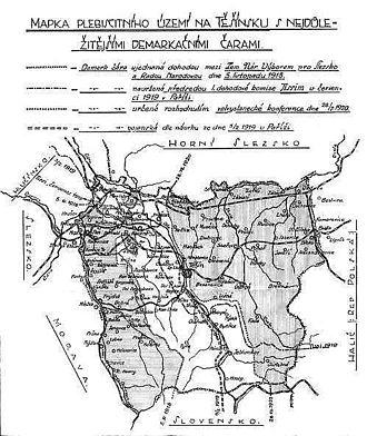 Polish–Czechoslovak War - Image: Map of plebiscite area