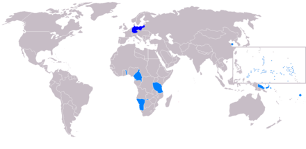 German colonies (light blue) made into League of Nations mandates. Map of the German Empire - 1914.PNG