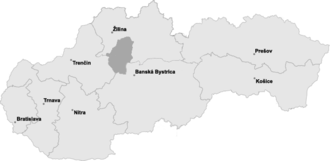 Turiec - Position of Turiec in Slovakia
