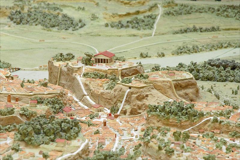 Maquette de Rome à l'époque archaïque avec vue sur le Capitole et le Forum. Photo de Jean-Pierre Dalbéra.