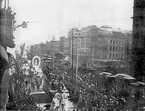 New Orleans Mardi Gras parade on Canal Street,...
