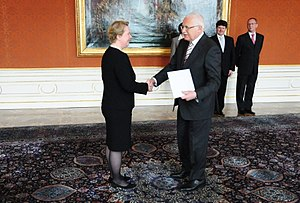 Ambassador - Maria-Pia Kothbauer, Princess of Liechtenstein and Ambassador Extraordinary and Plenipotentiary to the Czech Republic, presenting her credentials to Václav Klaus