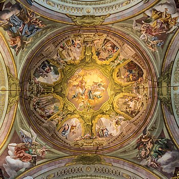 Fresco in the dome of Maria Taferl Basilica (Lower Austria) by Antonio Beduzzi (1714-1718): Life and assumption of Mary