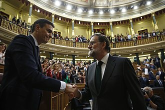 2018 vote of no confidence in the government of Mariano Rajoy - Outgoing prime minister, Mariano Rajoy (right), congratulating incoming prime minister, Pedro Sánchez (left), upon losing the no confidence vote on 1 June 2018