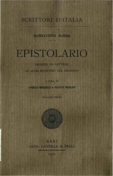 File:Marino, Giambattista – Epistolario, Vol. I, 1911 – BEIC 1872860.pdf