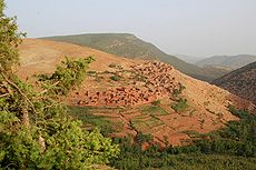 Berber village in the high Atlas in Morocco (Imlil valley)