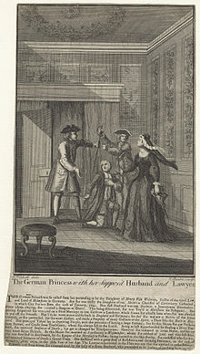 Description de l'image Mary Carleton (née Moders) ('The German Princess with her Suppos'd Husband and Lawyer') by James Basire.jpg.
