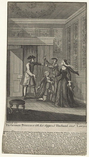 Mary Carleton - James Basire, engraving of Mary Carleton as The German Princess with her Suppos'd Husband and Lawyer.