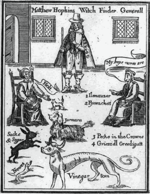 Familiar spirit - Frontispiece from the witch hunter Matthew Hopkins' The Discovery of Witches (1647), showing witches identifying their familiar spirits.