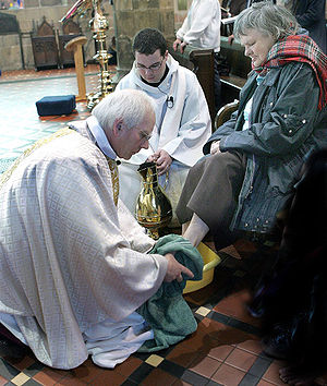 Mass of the Lord's Supper - Bishop John washes feet on Maundy Thursday 2007.