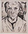 Max beckmann, autoritratto frontale con frontone di casa nello sfondo, 1918.jpg