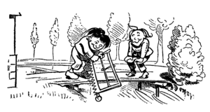 Max and Moritz - Sawing through the bridge planks (third trick)
