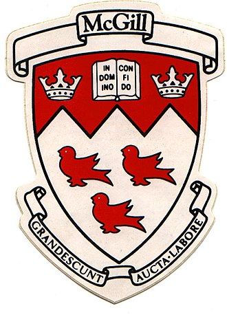 Martlet - The official crest and arms of McGill University contain three red martlets.  Marty the Martlet is the university's iconic mascot