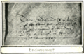 Mediaeval leicester billson f065 Old Guild Hall document endoresement.png