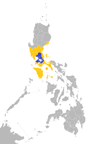 Mega Manila - Location of Mega Manila within the Philippines: Blue and yellow according to the Philippine Information office.