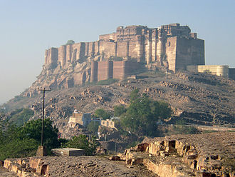 Mehrangarh Fort, situated in Rajasthan, where a large portion of sequences were filmed. Mehrangarh Fort.jpg