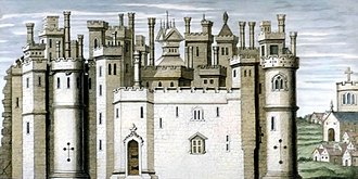 Melbourne Castle - 1733 print of a drawing from around 1580