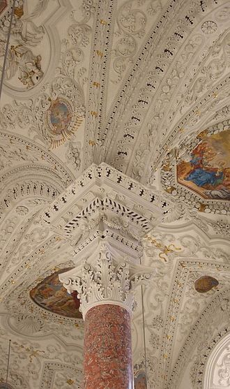 Wessobrunner School - Late Baroque stucco with some Rococo elements in the Kreuzherrnkirche in Memmingen
